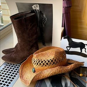 NWOT, chocolate mid calf western style boots